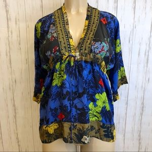 JOHNNY WAS | Blue Floral V Neck Blouse Small